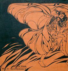 Ilustração para a  Ver Sacrum, 1898, por Koloman Moser - Inspiradas nas formas e figuras exploradas no movimento da Arte Nova.