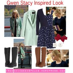 """The Amazing Spider Man: Gwen Stacy Inspired Look"" by ren-ellis on Polyvore  2 outfits inspired by Gwen Stacy (Emma Stone) in the Amazing Spiderman films. http://chicgeekspeaks.wordpress.com/2014/07/11/everyday-bookworm-fashion-gwen-stacy-inspired-look/"