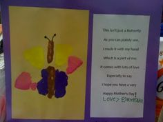 Butterfly Handprint and poem (Mother's Day) cute ideas for my daughters pre-school and kindergarten class