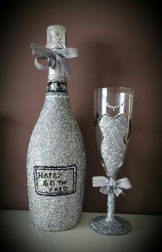 Prosecco  and glass silver glitter