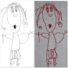Turn your kids artwork into an embroidered picture to keep