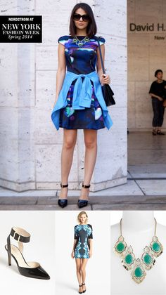 NYFW street style: Get this look! Ankle-strap pumps, colorful print dress, statement bib necklace.