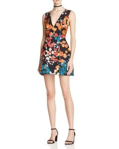 Alice + Olivia Patty Deep V Mini Dress | Bloomingdale's