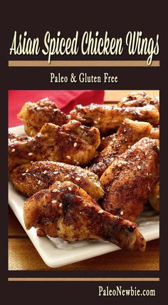 Asian-inspired baked wings with an easy 5-ingredient rub and a really simple honey-based finishing sauce. All paleo and so good! Asian Chicken Wings, Baked Chicken Wings, Asian Wings, Honey Baked Chicken, Paleo Chicken Recipes, Chicken Meals, Turkey Recipes, Paleo Appetizers, Appetizer Recipes