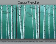Birch tree painting Wall art print set Teal blue by ArtFromDenise