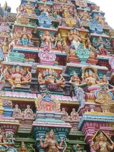 The colorful sculptures of the temple, Pondicherry, India