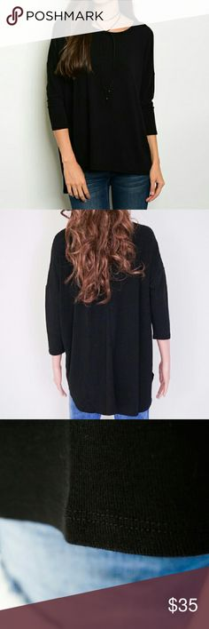 Black Knit Top Available in Size  M Fabric Content: 62% polyester 33% rayon 5% spandex Same day shipping. Tops