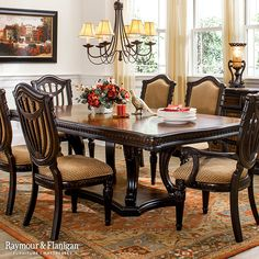 Make a lasting impression on your guests with this new stately Grand Estates 7-piece dining set. Take one look at the inset carvings along the perimeter of the table and chair seats and you'll know how this set got its name.