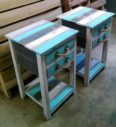 Pallet End Tables with Drawers