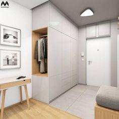 Eingang Stylish entrance and lobby inspiration as well as modern lighting ideas from the middle . Hall Wardrobe, Wardrobe Design, Modern Wardrobe, Hallway Closet, Corner Closet, Attic Closet, Entry Hallway, Closet Space, House Inside