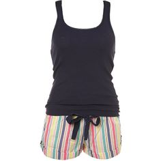 College Stripe Vest And Short (105 BRL) ❤ liked on Polyvore featuring intimates, sleepwear, pajamas, pijamas, pyjamas, lingerie &amp nightwear, short pajamas, lingerie pajamas, striped pyjamas y short sleepwear