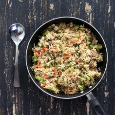 Garlic Fried Rice with Celery, Mushrooms, Broccoli, Red and Green Bell peppers