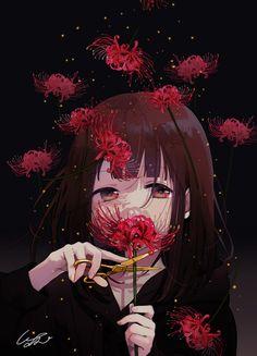 Anime Artwork-Maintaining Secrets and techniques-Zeichnung-Illustration Sad Anime Girl, Kawaii Anime Girl, Anime Art Girl, Anime Love, Dark Anime Art, Anime Girls, Anime Chibi, Chica Anime Manga, Thicc Anime