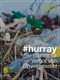 Das sind gute Nachrichten für die Umwelt, für unsere Gesundheit: Das EU-Parlament stimmt für das Verbot von Einwegplastik. Das ist hoffentlich das Ende des Einwegplastiks, das ab 2021 innerhalb der Europäischen Union verboten ist. Environmentalism, Messages, Health