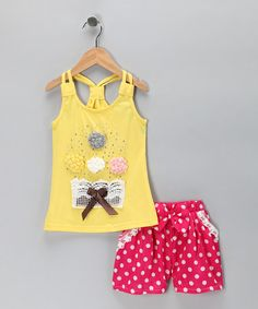 Take a look at this Sweet Bluette Yellow Rosette Tank & Pink Polka Dot Shorts by Sweet Bluette on #zulily today!