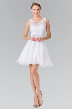 GLS 2314 - Short Tank Homecoming with Sheer Lace Top Rhinestone Belt & Chiffon Skirt Cocktail Bridesmaid Dresses, Cocktail Dress Prom, White Cocktail Dress, Prom Party Dresses, Wedding Dresses, White Bridesmaid Dresses Short, Prom Gowns, Dama Dresses, Short Dresses