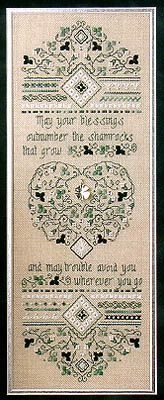 Sweetheart Tree Irish Blessing Sampler - Cross Stitch Pattern. May your blessings outnumber the shamrocks that grow, and may trouble avoid you wherever you go. Hardanger Embroidery, Irish Blessing