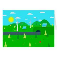 Happy Earth Day Sustainable Energy Custom Text Card - customizable diy