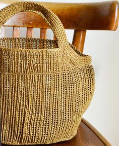 Sophie Digard / line waxed handbag macrame ワックスリネン カゴ バック (S047/36/WL/MIELE) by Sophie Digard | petiteparis