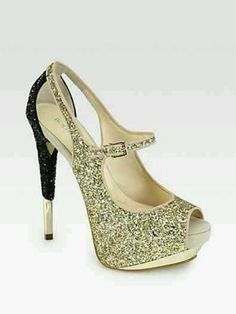 Gold and Glittery Pumps