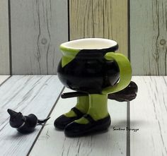 Halloween Espresso Cup, Spooky Demitasse mug, Cute Coffee Cup, Quirky Coffee Lovers Gift, Ceramic Halloween Cup, Hand made Pottery, Santino by WalkingPottery on Etsy