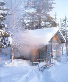 Finnish sauna at winter