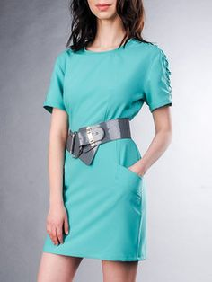 Royal Blue Crew Neck Short Sleeve Mini Dress