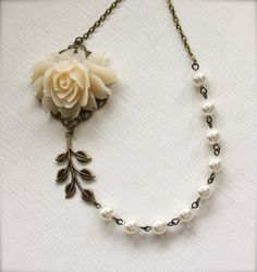 Mireia II - An Ivory Creamy Large Rose Flower and Ivory Swarovski Pearls Necklace.  Romantic. Vintage Bride. Elegant.  Bridesmaid Gifts.. $32.50, via Etsy.