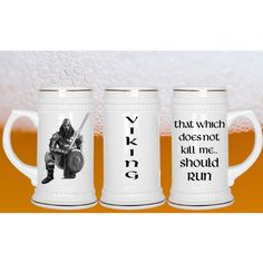 """Viking Beer Stein - """"That Which Does Not Kill Me... Should Run""""  This is a One of a kind, Hand Drawn Viking Warrior only by Calikays ***** You Will Not Find This Art Anywhere But Here @Calikays #vikingbeerstein"""