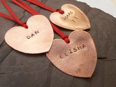 Personalized Christmas Tree Decorations Hammered Copper Hearts