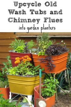 "I want a big herb garden this year! ""A dump find of old wash tubs and chimney flues and paint made a whimsical kitchen herb garden. In the winter I roll them inside and enjoy fresh/dried herbs all winter. Garden Junk, Garden Art, Garden Design, Brick Garden, Garden Whimsy, Container Gardening, Gardening Tips, Plant Containers, Organic Gardening"