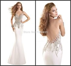 ED-0948 New Tarik Ediz Dress 2014 White Evening Dress See Through Mermaid Evening Dress for Long Party Sexy Long Evening Dress $209.00