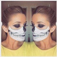Half skeleton makeup  Halloween is just around the corner!  (recreation of…