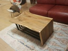 Wallnut and steel coffee table