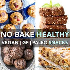 15 Healthy Gluten Free Vegan No Bake Snacks: a tasty collection of 15 easy recipes for gluten free vegan snacks that are good for ya! Vegan, Gluten Free.