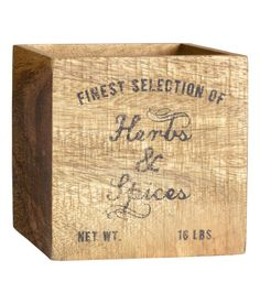 Check this out! Antique-finish wooden box with a printed text motif. Protective pads on base. Appearance can vary slightly from product to product. Size 4 3/4 x 4 3/4 x 4 3/4 in. - Visit hm.com to see more.