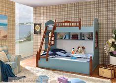 Кровать двухъярусная Детская двух-ярусная кровать с опорами, защитными перилами на 2-м ярусе, лестницей - позволяет рационально использовать пространство детской. Рекомендуемые размеры матрасов: для верхнего яруса - 1000х2000 мм, для нижнего яруса - 1500х2000 мм. Матрасы не включены в комплект