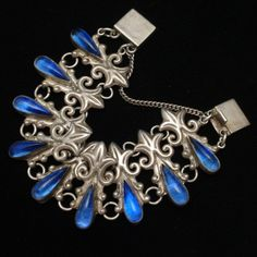 Vintage sterling silver bracelet with blue glass, Mexico