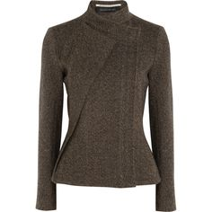 Roland Mouret Tulkinghorn herringbone tweed jacket ($815) ❤ liked on Polyvore featuring outerwear, jackets, coats, coats & jackets, tops, light brown, roland mouret, brown jacket, herringbone jacket et slim fit tweed jacket