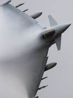 """A Royal Air Force Eurofighter Typhoon from No.3(F) Sqn roars through the Talyllyn Pass, part of Low Fly Area 7, in Wales.    Photography: Tom """"TJ"""" Hil.    http://www.aviationspectator.com/more-aviation-photos?page=230"""