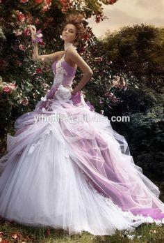 échantillon réel une ligne de mariée bustier brodé violet et blanc robe de mariée