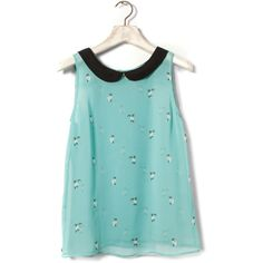 Pull & Bear Cat Print Shirt With Peter Pan Collar (415 DOP) ❤ liked on Polyvore featuring tops, shirts, blouses, tank tops, blue tank top, blue tank, peter pan tank top, shirt tank and shirts & tops