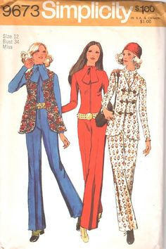 Simplicit 9673 1970s  Misses Tapestry Vest and Zip Front Jumspuit vintage sewing pattern by mbchills