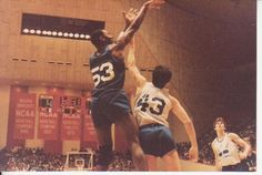 Michael Jordan (53) shoots over John Stockton (43) as Steve Alford looks on ... 1984 USA Olympic basketball tryouts, Assembly Hall, Indiana University. © kimball hendrix photo