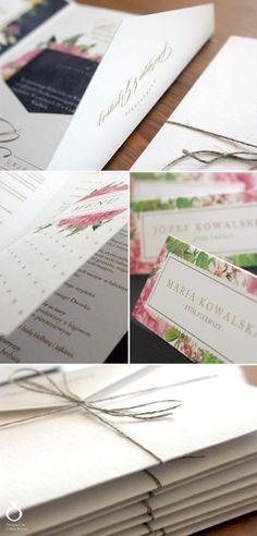 Flower Wedding Invitations for Patrycja & Grzegorz / Designed by Calym Sercem
