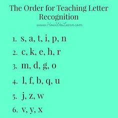 The order for teaching letter recognition to kids - brilliant reasoning. A must read!!