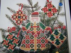 Christmas Quilt Santa Perforated Paper Cross Stitch Tree Topper Ornaments 91   eBay