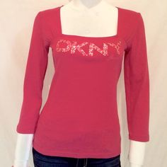 "DKNY JEANS Women Sequins Logo Top DKNY JEANS Women Sequins Logo Top. Size M, 100% Cotton. Machine Wash Warm. Measurements: Armpit to armpit 15"", Length of Top 23"", Length of Sleeves 18.5"". Super cute when worn with a pair of jeans. Never worn with tags. DKNY Tops"