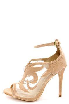 534e1428b49b Anne Michelle Rapture 33 Nude Suede Ankle Strap Heels