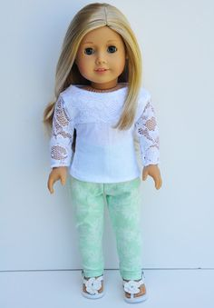 American Girl Clothes - White Lace Long Sleeve Top, Mint Pants, Casual Outfit by LoriLizGirlsandDolls on Etsy